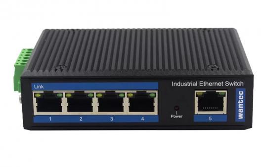 Wantec Industrial Gigabit DIN-Rail Switch, 5 Port, PoE