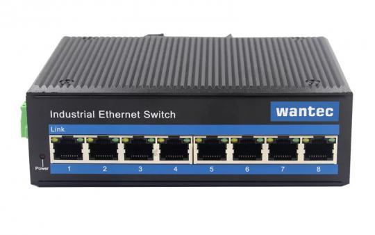 Wantec Industrial Gigabit DIN-Rail Switch, PoE, 8 Port