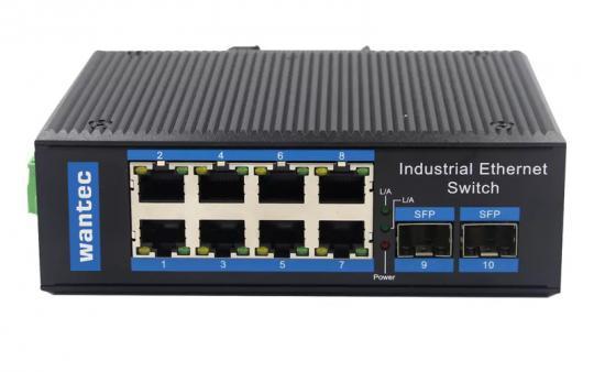 Wantec Industrial Gigabit DIN-Rail Switch, 8 Port + 2 SFP